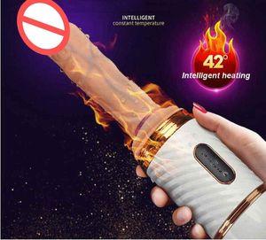 Vibrateurs de dildo télescopiques automatiques chauffés pour femmes sexe machine rétractable vibrateur de pénis femme masturbation adulte sexe jouets