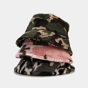 2020 Winter Unisex Outdoor Camouflage Bucket Hat Men Women Warm Faux Fur Lambswool Fishing Caps Bob Plush Soft Panama