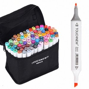 60 Color Set TOUCHNEW 6 Sketch Kinder Malerei Highlighter Unterstreichungen auf Alkoholbasis Marker Pens qGEG #