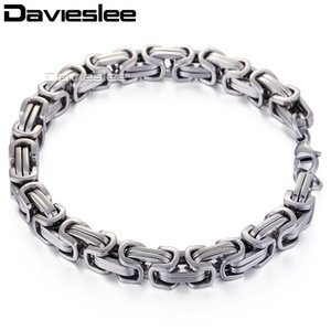 Davieslee Box Byzantine Mens Bracelet Stainless Steel Chains Bracelets for Men Women Gift Jewelry Wholesale 8mm 6-11inch LKB174
