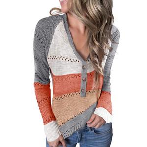 Mjartoria women's sweater V-neck casual Cufflinks long sleeve sweater striped knitted high-rise women's autumn knitted sweater