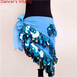 Traje de la danza del vientre de las mujeres HIP Bufanda de la lentejuelas de la lentejuela Cadena de la cintura oriental Bella de baile de la competencia Accesorios de rendimiento1