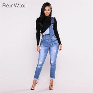Fleur Wood Babero adelgazante Denim para las mujeres más tamaño Stretch Fally Flacny Jeans Pantalones Vaqueros Mujer LJ201127