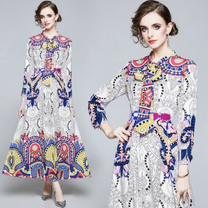 Printed Lady Dress 2020 Autumn Maxi Dress Long Sleeve Bow Prom Evening Dress High-end Elegant Women Dresses