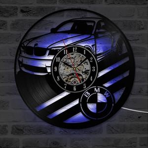 Yaratıcı BMW Car Vinil Tutanak Duvar Saati Modern Tasarım Saat Ev Dekorasyonu Antik Stil LED Clock Sigara saatli