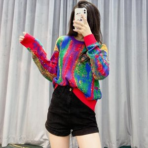 Pullover Women Sweaters Loose Christmas Sweater Rainbow Color Knit Sweater Plus Size Women Clothing Drop Shipping