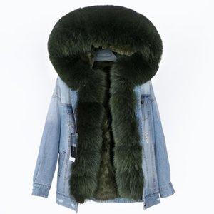 2020 real coat big natural fox collar winter rabbit fur liner women detachable Denim jacket