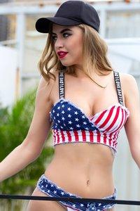 Sexy Push-up-Bikini-Halter zwei Stück Bodysuit Frauen befree Sommer Denim Us flag Beach Body kurz bodycon Overall Frau Overalls