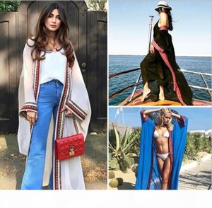 Women Plus Size Embroidered Summer Beachwear Cover Ups Long Cardigan Blouses Chiffon Kaftan Beach Tunic Bath Dress Robe Swim Wear Cover-Ups