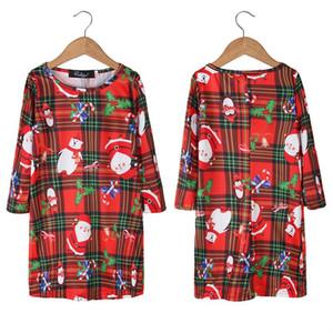 Baby Girls Dresses 2020 Autumn Winter Children Christmas Skirt Santa Claus Snowman Penguin Elk Bear Cartoon Cute Printed X-mas Dress E101903