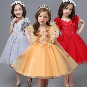 Kids Dresses For Girls Wedding Flower Girls Dress Children Evening Party Dress Lace Princess Clothing 6 8 10 12 Year