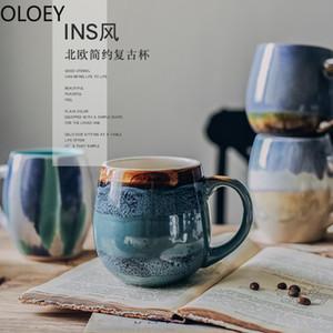 Kreative Vintage Kaffeetassen Handgemachte Porzellanmilch Tassen mit Deckeln Große Keramik Reisen Teetasse Wiederverwendbare Kaffeetasse Luxus Blau T200506