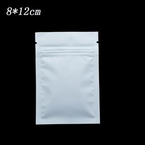 200Pcs 8*12cm Matte White Metal Foil Bags Retail Heat Sealable Zip Lock Mylar Packaging Pouch Drid Food Beef Snacks Coffee Tea Storage Bags