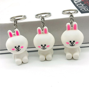 Sveglia del coniglietto Bunny KeyChains chiave animale del fumetto Anello PVC morbido portachiavi sveglio del coniglio KeyChains Portachiavi Bunny