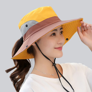 Summer Mesh Wide Brim Sun Hats for Women Breathable Sunhat Outdoor UV Protection Top Men Bucket Hats Sport Fishing Unisex WH609 201015