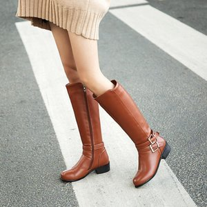 Big size 33-47 high quality 2020 winter fasion women solid buckle square med heels knee-high riding boots 2 colors