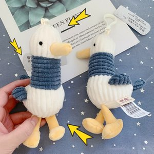 Creative cute seagull doll keychain puppet doll bag charm striped duck pendant plush toy female gift