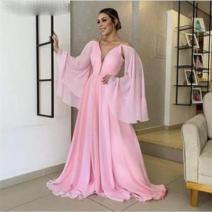Pink Evening Dresses Fashion V-Neck A-Line Floor Length Simple Prom Dresses With Zipper Back vestidos de fiesta Party Dresses L185
