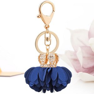 Camellia Daisy Crown Keychain Bag Pendant Bag Holder Crytals Strass Women Bag Flower Charm Key Chain Buckle Key Ring Ch901 H jllCLS