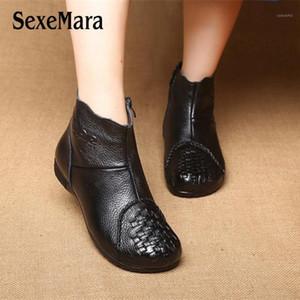 Sexemara Botas de cuero genuino. Zapatos de invierno de peluche cortos de peluche. Negro rojo tejido antideslizante.