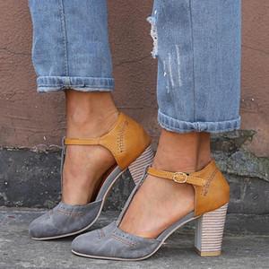 2021 women sandals platform buckle sandals high heel women summer shoes square gladiator female #Cl3f
