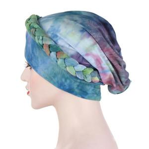 20Muslim Women Braid Tie Dye Elastic Turban Hat Chemo Cancer Cap Arab Head Scarf Wrap Cover Headscarf Islamic Bandanas Accessories