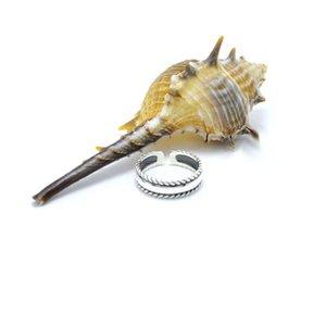 Fysara rock formato Accessori di gioielli di apertura 925 Sterling Silver Ring per le donne Men Do Old Cable Black Design Twist regalo Midi anello nuziale jllniZ