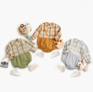 2021 INS baby boy kids climbing romper Long Sleeve Stand Collar Patchwork Design Romper 100% cotton Spring baby boy rompers 0-2T