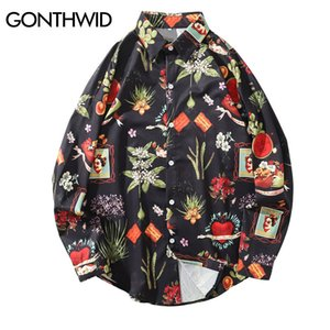 GONTHWID Flowers Floral Print Hawaii Long Sleeve Dress Shirts Harajuku Casual Button Up Shirt Tops Men Hip Hop Shirt Streetwear J1216