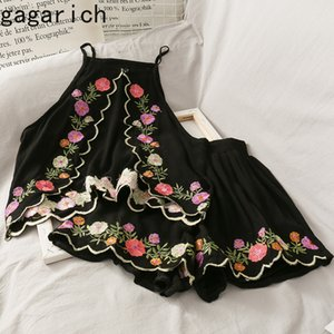 Gagarich Women Retro Two Piece Set Vintage Embroidered Flower Off-Shoulder Halter Short Strap Ladies High Waist Slim Shorts 201012