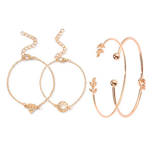 European and American creative new jewelry set leaf diamond knotted open bracelet four-piece set hot jewelry wholesale