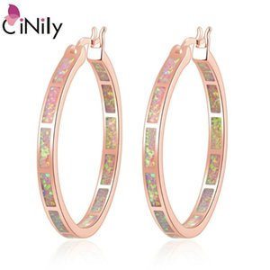 CiNily Pink Fire Opal Luxury Large Hoop Earrings Rose Gold Color Rainbow Round Circle Cocktail Party Summer Jewelry Gifts Woman