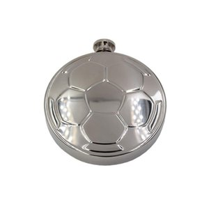 Huni KKB2881 ile Taşınabilir Yuvarlak 304 Paslanmaz Çelik Futbol Hip Flask Ayna Tasarım Yuvarlak Şarap Hip Flask Erkekler Cep Şarap Flagon