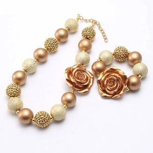 Fashion Rose Flower Baby Chunky Beads Necklace Bracelet Child Kids Girls Bubblegum Bead Necklace Chunky Jewelry For Gift