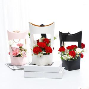 هدية التفاف المحمولة كرافت أكياس الورق زهرة روز مربع مع مقبض ماء باقة بائع الزهور التعبئة عيد الحب هدية عيد 1
