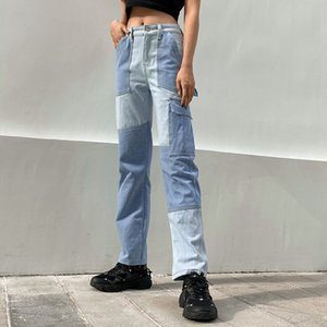Autumn Patchwork Cargo Women Streetwear High Waist Jeans Female Denim Pants 2020