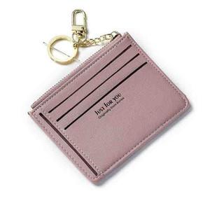 New Slim Kreditkartenhalter für Frauen PU-Leder mit hoher Qualität Weibliche Geldbörse mit Reißverschluss-Taschen-Schlüsselanhänger Kleine Geldbörse