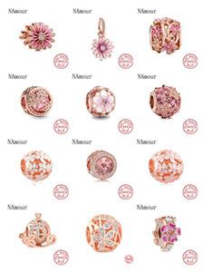 Newst Original openwork margarida cor de rosa cintilante rosa ajuste talão Pandora encantos de prata 925 pulseira colar DIY jóias mulheres
