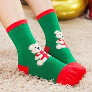 Sonbahar ve kış Noel çocuk çorapları ılık gif için karikatür çocuk orta tüp bölünmüş ayak beş parmak Sıcak çocuk Bölünmüş ayak çorap