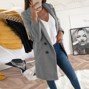 2020 Spring Autumn Wool Blend Jacket Women Button Lapel Jacket Coat Female Plus Size Long Sleeve Overcoat Manteau Femme Hiver1