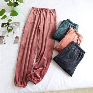 Otoño invierno de la franela pijama pantalones para hombres y mujeres Isla Fleece espesado calientes Homewear amantes Coral Fleece Pantalones cerrados