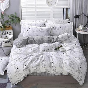 2020 Cartoon Cats INS Bedding Sets Microfiber Brush Polyester Bedlinens Twin Full Queen King Duvet Cover Set Pillowcases