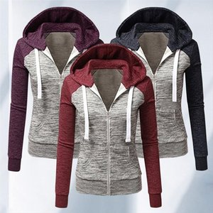 Women Fashion Hit Color Patchwork Jacket 2020 Autumn Winter Hooded Sweatshirt Zipper Hoodies Pocket Coat Female Sweat Harajuku