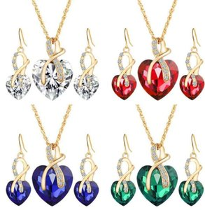 Gold Jewelry Sets Wedding Band Shining Crystal Love Heart Pendant Necklaces Earrings Jewelry Sets For ps0964