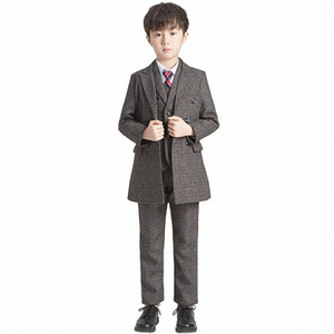 Boys Show Dress Suit Set Autumn Winter Children Wedding Party Performance Clothes Set Kids Windbreaker Blazer Vest Shirts Pants AHbG#
