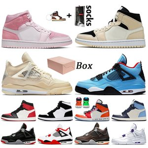nike air jordan 1 jordan retro 1 off white jordan 4 4s travis scott stock x С коробкой 2021 г. Digital Pink Barely Orange Jumpman Женская мужская баскетбольная обувь Парус