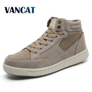 Vancat Plus Size 38-49 Warm Winter Waterproof Men Cow Suede Canvas Fur Snow Sneakers Men's Ankle Boots 201110