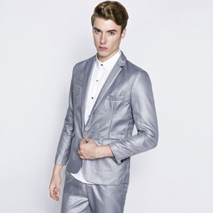 Men's 2pcs Wedding Groom Suit With Pants Mens Fashion Casual Print Slim Fit One Button Business Formal Party Dress Suits Male