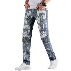 Männer Jeans zerrissenen Biker Löcher lackiert Patchwork Stretch Denim Hosen Slim Bleistifthose