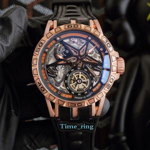 Version élevée Excalibur RDDBEX0479 Dial Squelette Rose Gold Steel Case Mouvement Mouvement Mouvement Hommes Montres Sangle En Cuir Sport Montres Sport